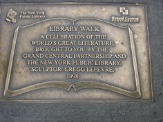 The plaque that introduces Library Way. There are two of these, one at each end of the block.
