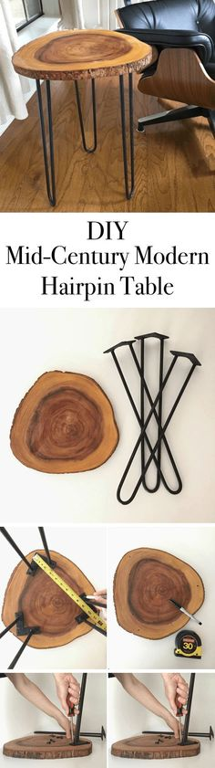Mid-Century Modern Hairpin Table // Here is a great little table to make that you can use most anywhere.