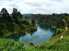 The River Waikato Near Huka Falls in Taupo, New Zealand