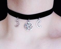 triple moon velvet choker ☽☽ www.etsy.com/shop/OfStarsAndWine ☽☽ gothic nu goth occult witch fashion