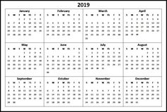 Free Yearly 12 Month Calendar One Page Template Printable with Holidays Calendar 2019 One Page, Calendar 2019 With Holidays, 12 Month Calendar, Online Calendar, Printable Yearly Calendar, Monthly Planner Template, Printable Calendar Template, Holiday Words, Quotes About God