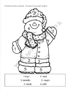 a great way to practice colors in spanish - Color Number Winter Worksheets