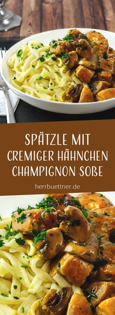 Spätzle mit Hähnchen und Champignons in Sahnesoße mit Thymian und Petersilie. You are in the right place about Italian Recipes for a crowd Here we offer you the most beautiful pictures about the Itali Vegetable Recipes, Meat Recipes, Pasta Recipes, Healthy Dinner Recipes, Appetizer Recipes, Crockpot Recipes, Vegetarian Recipes, Chicken Recipes, Shrimp Recipes