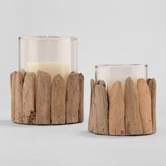 One of my favorite discoveries at WorldMarket.com: Driftwood Hurricane Candleholders