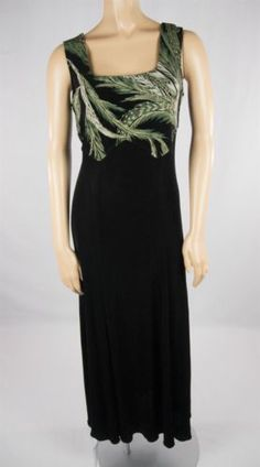 JOSEPH RIBKOFF COUTURE Black Knit Painted Floral Evening Cocktail Dress Sz 6 S