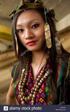 The costumes and jewelry of the Marra tribe in Mizoram, a state in Northeast India. Stock Photo