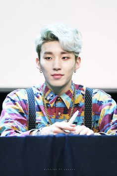 Only Jongup could pull this off honestly << foreal he's like.....a hot clown?