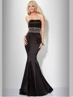 Gorgeous Beaded Satin Black Mermaid Prom Dress