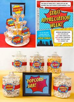 Staff Teacher Appreciation Week Superhero Party WITH PRINTABLES via Kara's Party Ideas KarasPartyIdeas.com