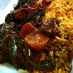 Roast,collard green,yellow rice,sweet potato candied yams.. Order yours... @LA Simms catering...