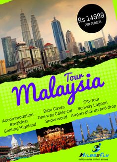 Get #Malaysia #package tour to visit Malaysia and tours in Malaysia to have beautiful Malaysia Holidays with unique experience. Book Malaysia holiday packages from #Miles2fly.com and get great deals on booking Malaysia packages.  Tour Package Includes, #Accommodation #Breakfast #Genting Highland #Batu Caves #One way Cable Car #Snow world #City Tour #Sunway Lagoon  #Airport pick up and drop  Click to book best South India packages & get exciting deals…