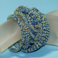 """Ondine...  A long (70""""!) bead crochet rope made from Czech glass seed beads with a picasso finish.  $164"""