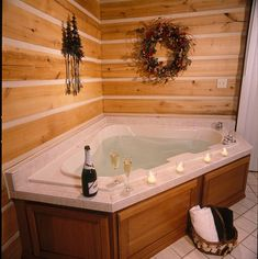 Oversized whirlpool bathtub at Cabins & Candlelight