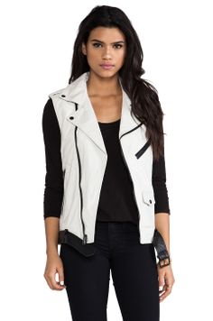 BLK DNM Leather Vest 12 in Dust White & Black from REVOLVEclothing