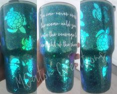 Turtle Glitter Tumbler Ready To Ship Voss Bottle, Water Bottle, Turtle Love, Tumbler Designs, Cup Design, Tumbler Cups, Custom Tumblers, Make And Sell, Cricut Ideas