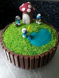 como decorar bolo dos &qout;smurfs&qout;