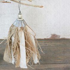 Burlap Jute Linen Tart Tin Tassel a Vintage Inspiration