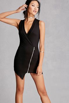A ribbed knit wrap dress featuring an exposed zipper front, surplice neckline, sleeveless cut, and an asymmetrical hem. This is an independent brand and not a Forever 21 branded item.