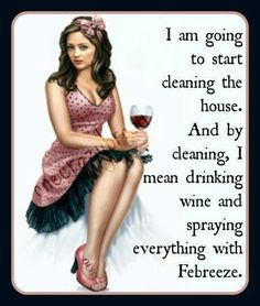 Wine :) Cleaning ;) Febreeze :) Or maybe Gain scented Mr. Clean! ;D