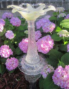 Garden totem.....Gorgeous bowl on top.