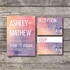 Printable Wedding Invitation Pack - Watercolor Invite - Digital Ready to Print