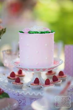 Feminine buttercream cake.  Would make a sweet smash cake for a little girl.
