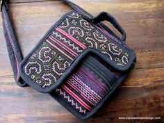 Unisex Cross Body Bag In Hmong Indigo Batik and Embroidery Travel Bag, Siamese Dream Design /// http://www.tafaforum.com/market/tafa-market-accessories/bags-and-purses/