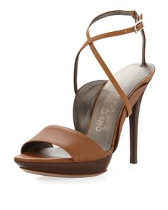 Gilina Crisscross Ankle-Wrap Sandal, Caramello by Salvatore Ferragamo at Last Call by Neiman Marcus.
