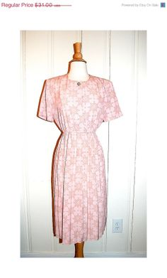 ON SALE 80s Pink Patterned Dress . Vintage by MerakiVintageShop, $27.90