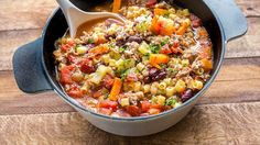 """Just like the one you love at your favorite Italian restaurant! """"Pasta e fagioli"""" means """"pasta and beans"""" in Italian, and this hearty soup is chock full of both—plus savory Italian sausage, flavorful fresh veggies and a healthy sprinkling of Parmesan cheese. You'll feel like you're visiting a rustic family farmhouse with this dish on the table!"""
