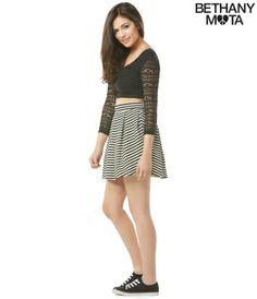 Striped Ponte Skater Skirt