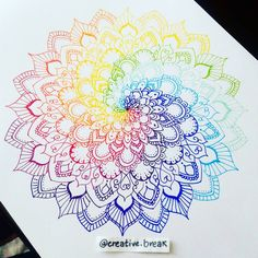 And finally, a spiral rainbow mandala to close the multicolored week. Happy week… And finally, a spiral rainbow mandala to close the multicolored week. Happy weekend everybody! Mandala Art, Mandala Drawing, Mandala Painting, Mandala Tattoo, Painting & Drawing, Zentangle Patterns, Zentangles, Cover Tattoo, Stencil Art