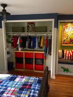 Our 5 yr old's bedroom. Who needs closet doors when things are organized? This expands the bedroom size. - Visit to grab an amazing super hero shirt now on sale! Marvel Bedroom Decor, Boys Bedroom Decor, Bedroom Themes, Bedroom Ideas, Boys Superhero Bedroom, Avengers Room, Kids Room Design, Boy Room, Decoration