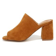 Symone Chestnut Suede Peep-Toe Mules (38 CAD) ❤ liked on Polyvore featuring shoes, brown, mule shoes, peep-toe mules, suede peep toe shoes, brown shoes and party shoes