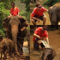 Não resisti e vou postar mais essas fotos pra vocês... O dia mais incrível! Tive a sorte de cuidar de dois elefantes, a mamãe e o seu filhote... ??❤️❤️❤️ #UmViajanteAsia2015 #thailand #asia #elephant #tailandia #mochilao