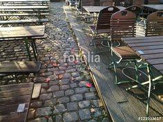 Herbstbeginn, die ersten Blätter fallen von den Bäumen auf das Kopfsteinpflaster der Hafenpromenade in Münster in Westfalen im Münsterland