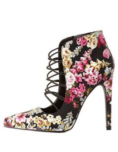 Qupid Caged Floral Pumps: Charlotte Russe