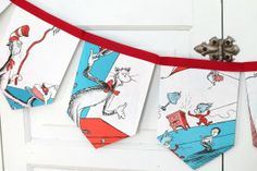 dr suess'  the cat in the hat bunting banner, vintage repurposed children story book, bedroom / birthday garland, gift under 20