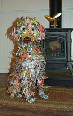 Paper Mache sculpture dog.