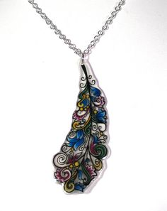 Bright Multicolored Feather Shrinky Dink Necklace