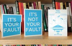 With a simple fold you decide who's fault it is. An essential greeting card for playing the blame game