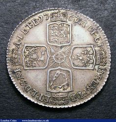 Reverse side of a British one-shilling coin from 1763.