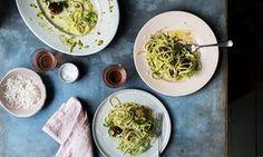 Anna Jones's spaghetti with pistachio pesto and squash polpette.