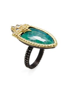 Old World Malachite, Rainbow Moonstone & 0.35 Total Ct. Diamond Shield Stack Ring