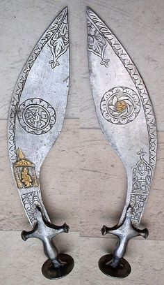 Indian tulwar hilted kukri, in, blade length 16 in. and width in. Swords And Daggers, Knives And Swords, Indian Sword, Medieval Weapons, Arm Armor, Fantasy Weapons, Firearms, Concept Art, Guns