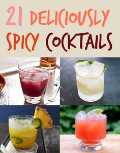 21 Deliciously Spicy Cocktails, I can't wait to try ALL of these! Party Drinks, Cocktail Drinks, Fun Drinks, Cocktail Recipes, Beverages, Drink Recipes, Liquor Drinks, Craft Cocktails, Bento