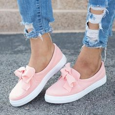 1b0e4b37f4c Women Loafers Casual Bowknot Shoes - Pink   US 8(label size 39) Pink