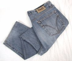 Dolce & Gabbana Jeans 34 Relaxed Straight Leg Button Fly Blue Denim D&G Italy #DolceGabbana #Relaxed