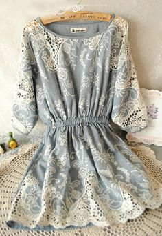 Batwing Crochet Lace Stretchy Denim Blue Skater Dress [ghyxh36251]
