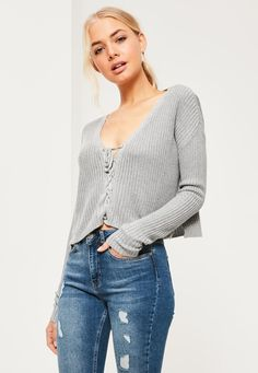 Grey Slouchy Knitted Cropped Lace Up Jumper - Missguided